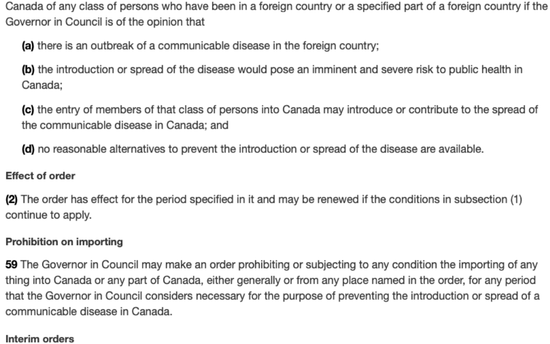 Emergency Orders made February 22nd, under the Quarantine Act in relation to travel