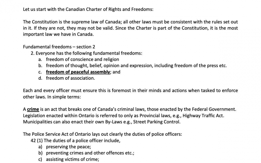 Police on Guard for Thee's,  Len Faul, Policing in Ontario Letter