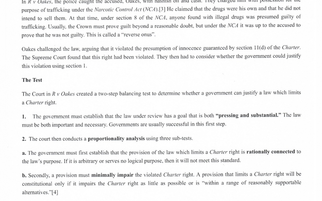 Charter of Rights and Freedoms and the Oakes Test