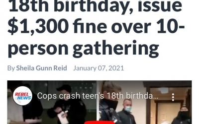 Police crash 18th Birthday Party and Issue $1,300 fine, over 10-person gathering