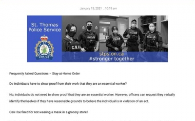 St Thomas Stay at Home Order, compare to Ontario Regulations