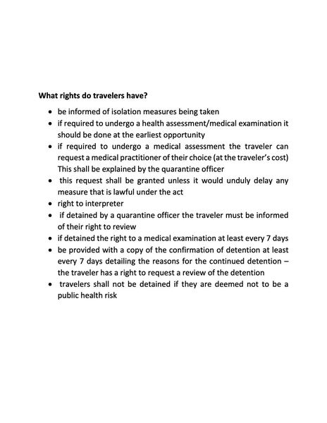 We've been receiving questions about the Quarantine Act and how it relates to travel.