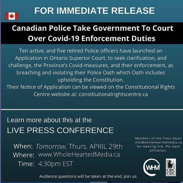 Canadian Police take Government to Court over Covid 19 Enforcement Duties