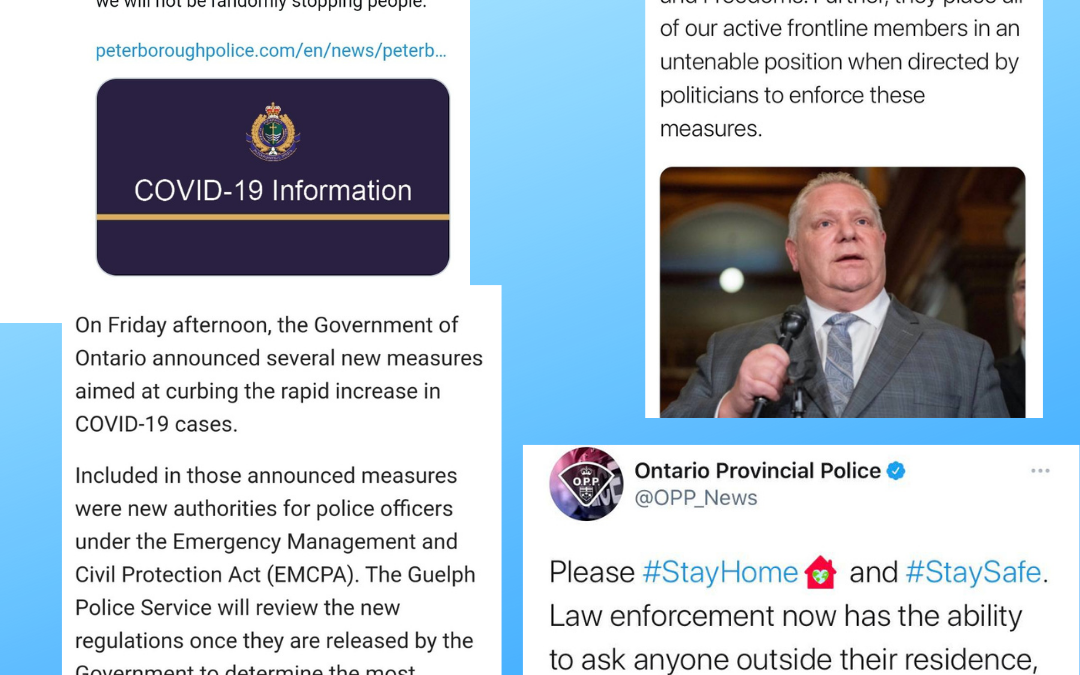 Announcements surrounding the new restrictions in Ontario (April 15th, 2021)
