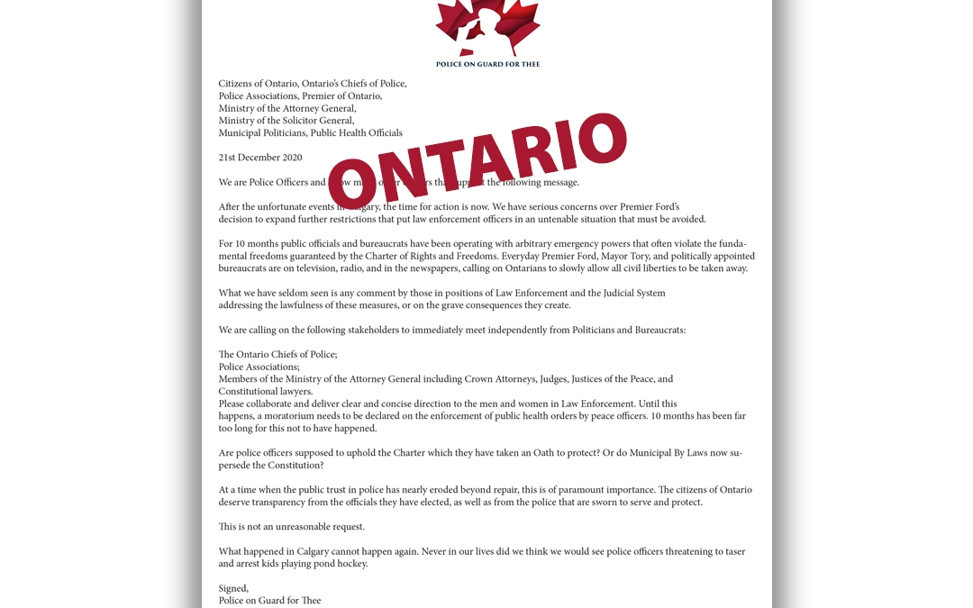 Police on Guard for Thee – Ontario Letter