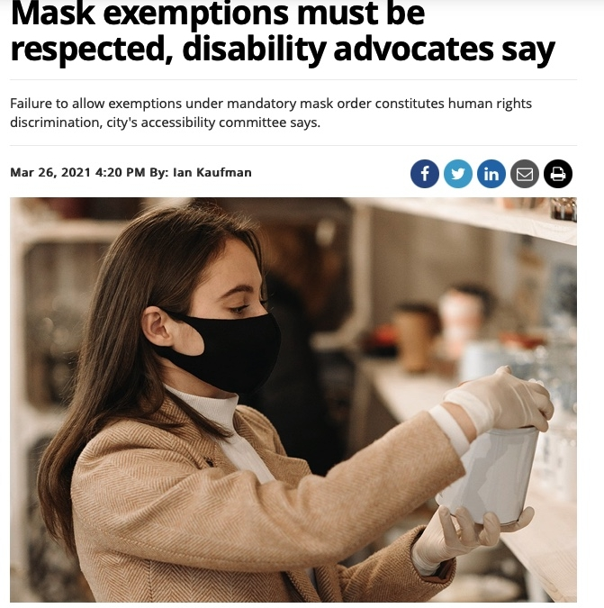 Mask Exemptions must be respected, disability advocates say