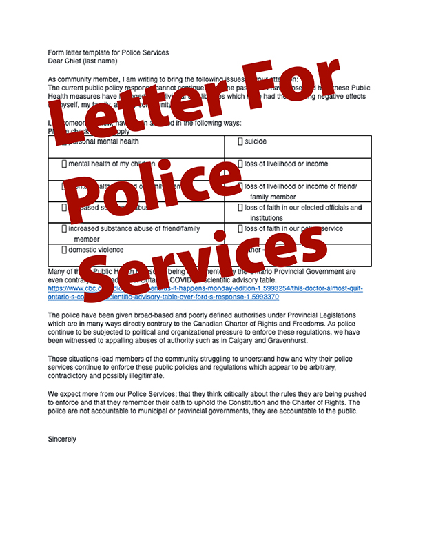 Letter for Police Services - Police on Guard for Thee