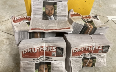 Police on Guard's front page article in Druthers' newspaper
