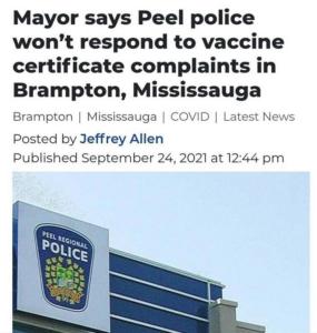 Peel Regional Police Not Enforcing Vaccine Passport